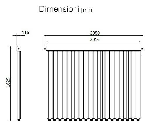 Dimensioni del Collettore Solare UP-18 CPC per Tetto Piano