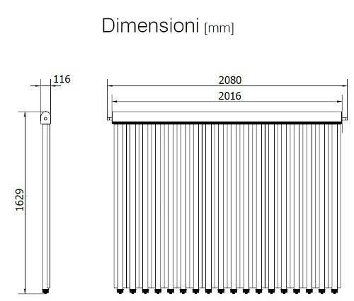 Dimensioni del Collettore Solare UP-18 CPC per Tetto Spiovente