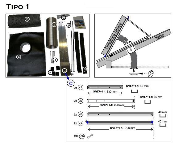 KIT RK1 - Tipo1 - per Montaggio su Tetto dei Collettori Solari ad Aria SVI7÷SVI14