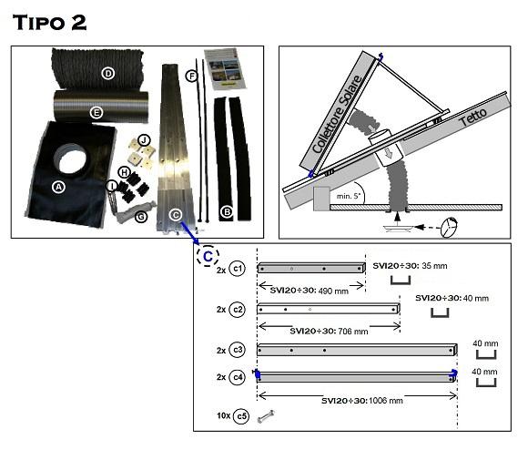 KIT RK4 - Tipo2 - per Montaggio su Tetto dei Collettori Solari ad Aria SVI20÷SVI30R