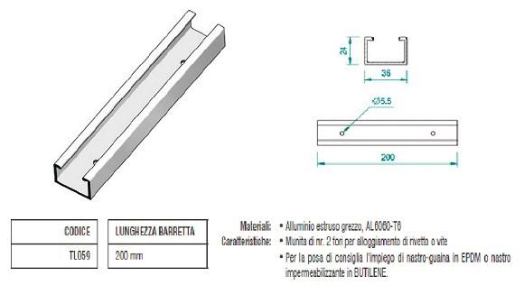 Barretta di Fissaggio su Greta in Alluminio con Modulo Orizzontale TL059