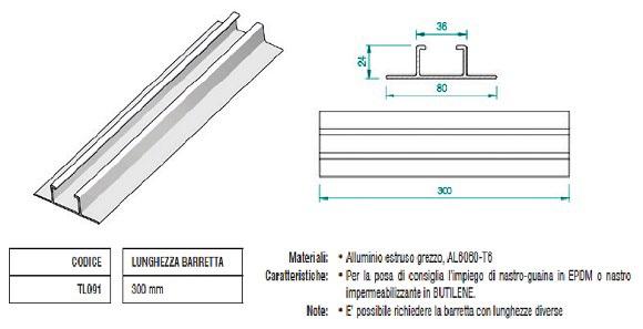 Barretta di Fissaggio su Greta in Alluminio con Modulo Verticale TL091