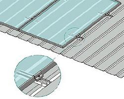 Esempio di Montaggio utilizzando Barrette di Fissaggio su Greca con Modulo Verticale TL091