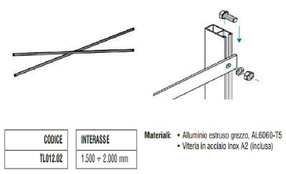 Controvento a Crociera in Alluminio da 1500 a 2000 mm TL012.02