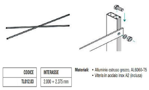Controvento a Crociera in Alluminio da 2000 a 2375 mm TL012.03