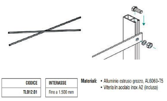 Controvento a Crociera in Alluminio fino a 1500 mm TL012.01