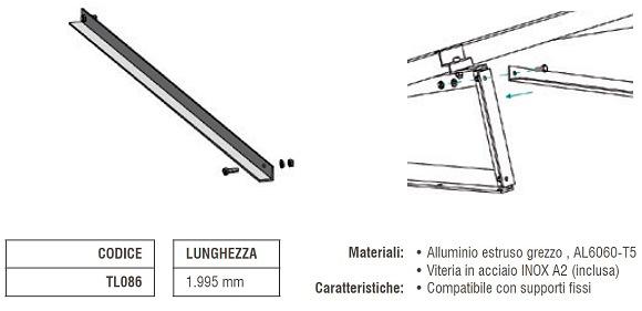 Controvento per Supporti Fissi in Alluminio TL086