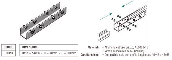 Elemento di Giunzione Longherone 45X45 e 45X65 mm in Alluminio TL010