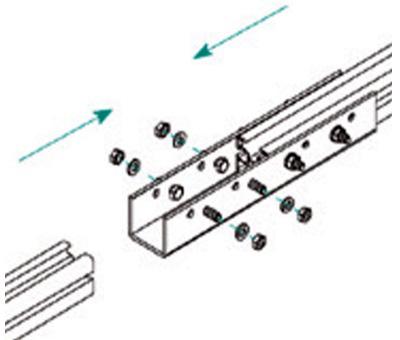 Esempio di Montaggio dell'Elemento di Giunzione Longherone 45X45 e 45X65 mm in Alluminio TL010