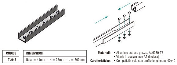 Elemento di Giunzione Longherone 40X40 mm in Alluminio TL048