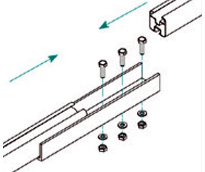 Esempio di Montaggio dell'Elemento di Giunzione Longherone 40X40 mm in Alluminio TL048