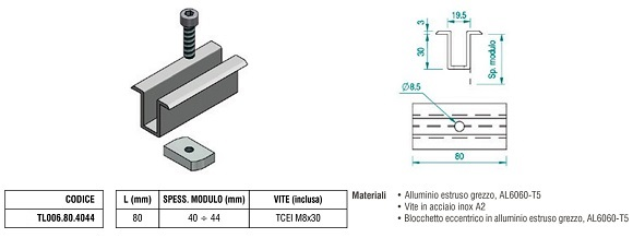 Morsetto Fermapannello Centrale  TL006.80.4044 in Alluminio con Spessore Modulo 40÷44 mm + Blocchetto Eccentrico e Vite
