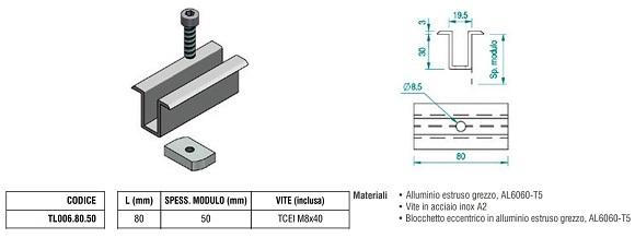 Morsetto Fermapannello Centrale  TL006.80.50 in Alluminio con Spessore Modulo 50 mm + Blocchetto Eccentrico e Vite