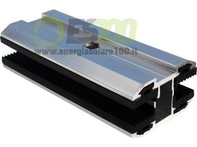 Morsetto Centrale TL043.100 Ferma-Pannello senza Cornice in Alluminio con Spessore Modulo 4÷7,2 mm + Blocchetto Eccentrico e Vite