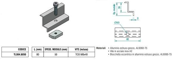 Morsetto Fermapannello Finale TL004.8050 in Alluminio con Spessore Modulo di 50 mm + Blocchetto Eccentrico e Vite