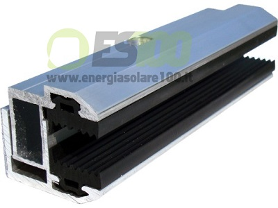 Morsetto Finale TL044.100 Ferma-Pannello senza Cornice in Alluminio con Spessore Modulo 4÷7,2 mm + Blocchetto Eccentrico e Vite