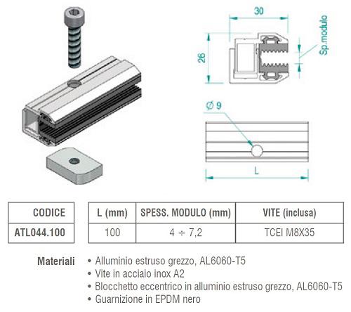 Morsetto Finale TL044.100 Ferma-Pannello senza Cornice
