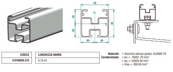 Profilo Longherone 40X40 mm in Alluminio Lungo 3,15 mt TLPS4858.315