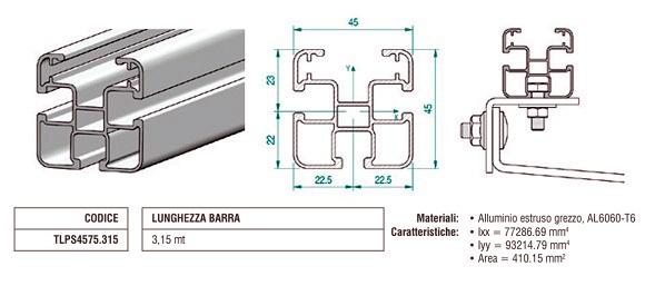Profilo Longherone 45X45 mm in Alluminio Lungo 3,15 mt TLPS4575.315