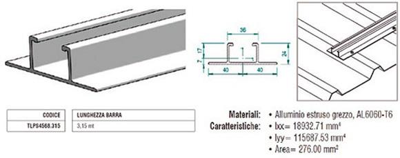 Profilo Longherone H24 in Alluminio di 3,15Mt TLPS4568.315