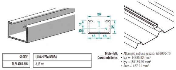 Profilo Longherone H24 a C in Alluminio di 3,15Mt TLPS4759.315