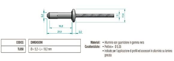Rivetto a Fiore in Alluminio con Guarnizione in gomma nera TL058