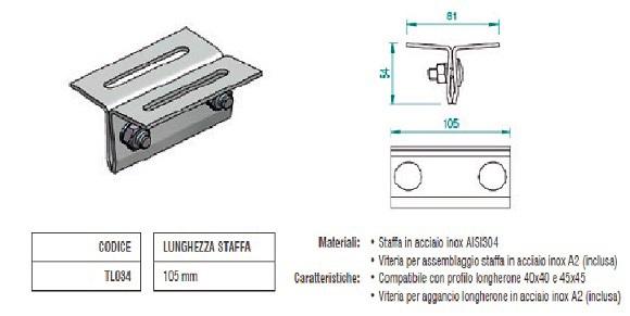 Staffa in Acciaio Inox per Aggancio Profilo Longherone su Lamiera Aggraffata TL034