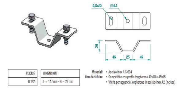 Staffa Orientabile in Acciaio Inox per Lamiera Grecata TL092