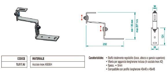 Staffa per Coppo in Acciaio Inox con Doppia Regolazione TL017.AI