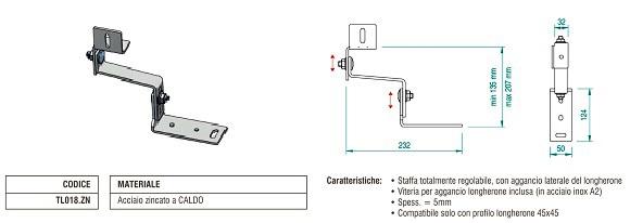 Staffa per Coppo con Attacco Laterale in Acciaio Zincato con Doppia Regolazione TL018.ZN