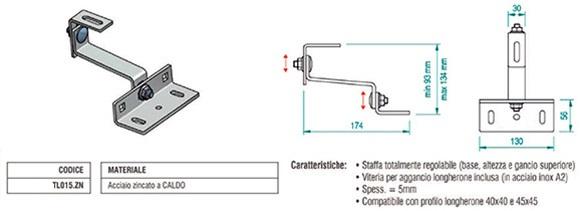 Staffa par Tegola in Acciaio Zincato con Doppia Regolazione TL015.ZN