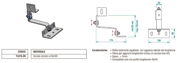 Staffa per Tegola con Attacco Laterale in Acciaio Zincato con Doppia Regolazione TL016.ZN