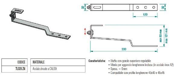 Staffa per Tegola Ribassata in acciaio Zincato con Singola Regolazione TL028.ZN