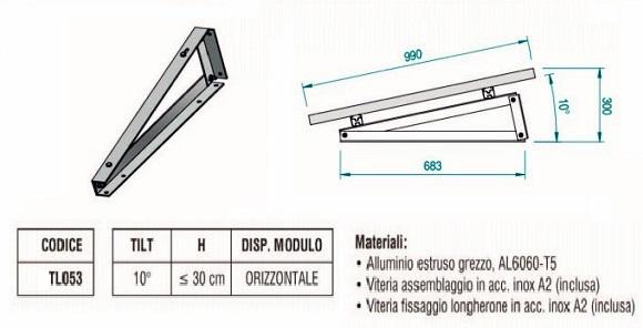 Supporto Triangolare in Alluminio Fisso a 10° Fissaggio senza Zavorra con Modulo in Orizzontale TL053