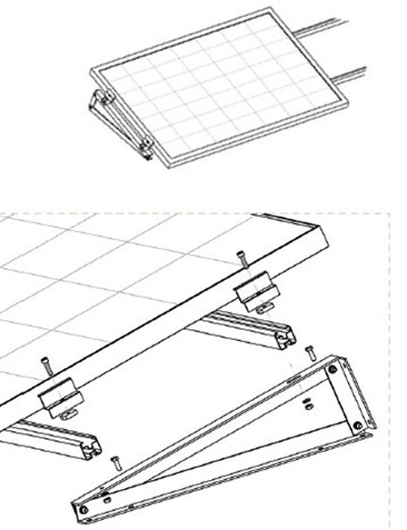 Esempio di Struttura con Supporto Triangolare in Alluminio Fisso a 10° Fissaggio senza Zavorra con Modulo in Orizzontale TL053