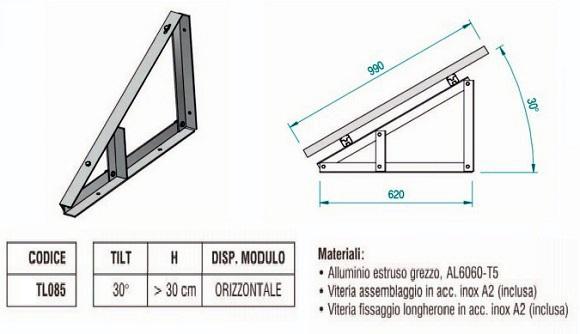 Supporto Triangolare in Alluminio Fisso a 30° Modulo in Orizzontale TL085