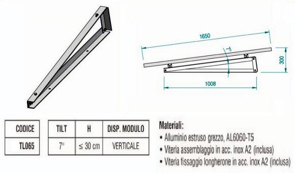 Supporto Triangolare in Alluminio Fisso a 7° Fissaggio senza Zavorra con Modulo in Verticale TL065