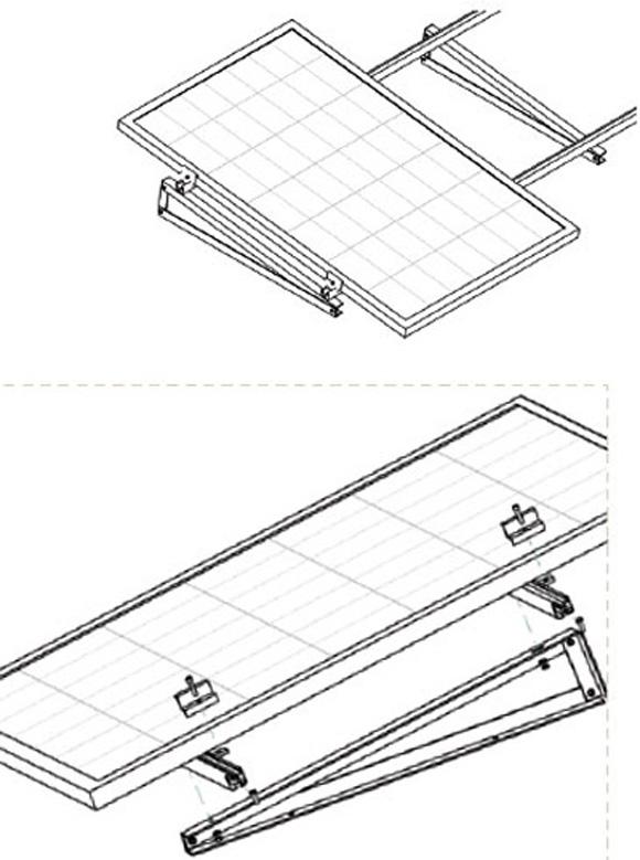 Esempio di Struttura con Supporto Triangolare in Alluminio Fisso a 7° Fissaggio senza Zavorra con Modulo in Verticale TL065
