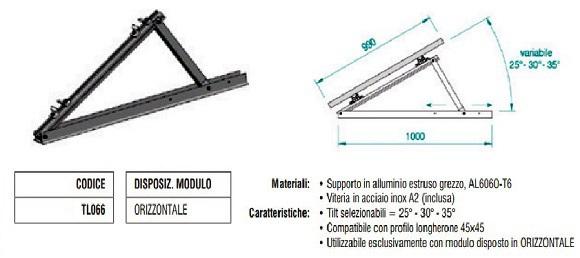 Supporto Triangolare in Alluminio Parzialmente Regolabile Modulo in Orizzontale TL066