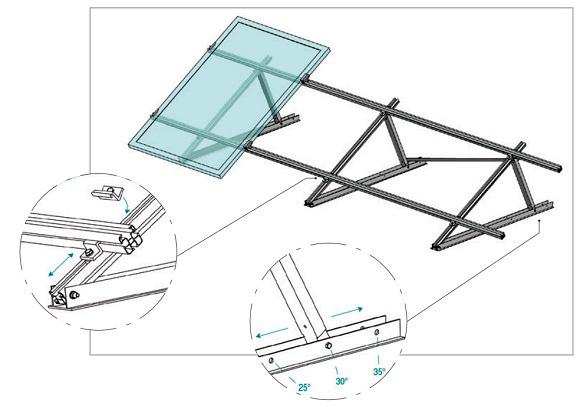 Esempio di Struttura con Supporto Triangolare in Alluminio Parzialmente Regolabile Modulo in Orizzontale TL066