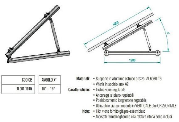 Supporto Triangolare in Alluminio Totalmente Regolabile 10°÷15° TL001.1015