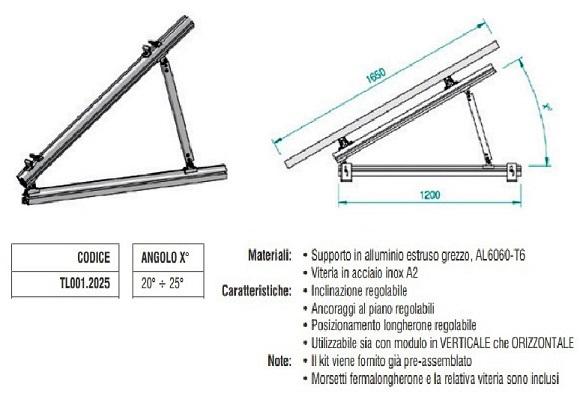 Supporto Triangolare in Alluminio Totalmente Regolabile 20°÷25° TL001.2025