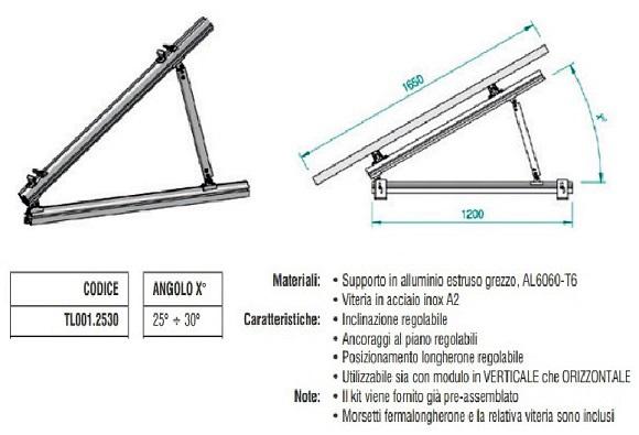 Supporto Triangolare in Alluminio Totalmente Regolabile 25°÷30° TL001.2530