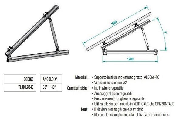 Supporto Triangolare in Alluminio Totalmente Regolabile 35°÷40° TL001.3540