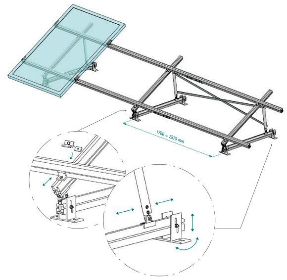 Esempio di Struttura con Supporto Triangolare in Alluminio Totalmente Regolabile 35°÷40° TL001.3540