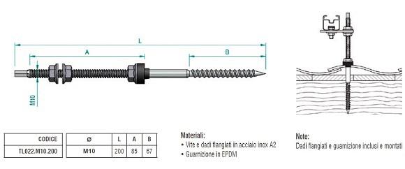 Dettagli Tecnici della Vite Autofilettante  TL022.M10.200 per Legno