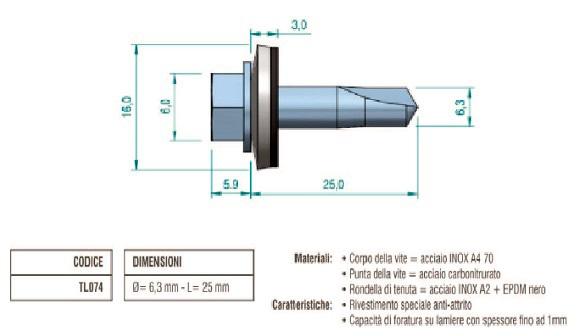Vite Autoperformante Bimetal in Acciaio Inox e Carbonitrurato TL074