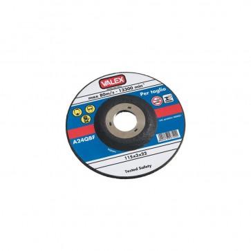 Set 2 pz Disco abrasivo a centro depresso da taglio 115x3x22 - max 80 m/s Valex
