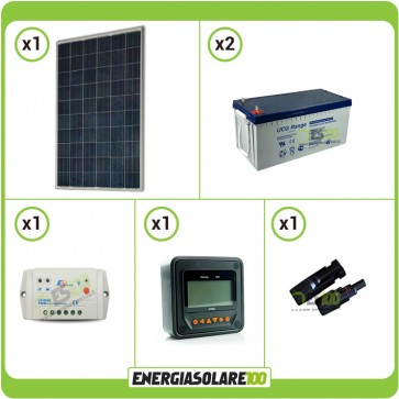 Kit Starter Pannello Solare KA 250W 24V Batteria Gel 200Ah  Regolatore PWM 10A LS1024B e Display MT-50
