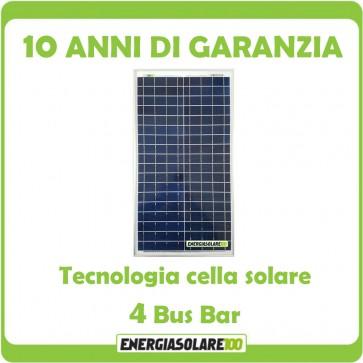 Pannello Solare Fotovoltaico 30W 12V Camper Nautica Allarme Videosorveglianza